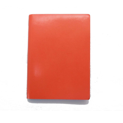 Paperthinks Tangerine Orange Large Ruled Recycled Leather Notebook, 4.5 x 6.5-in