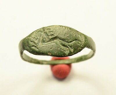 Rare Ancient Greek / Roman Bronze Seal Finger Ring With Lion - Wearable