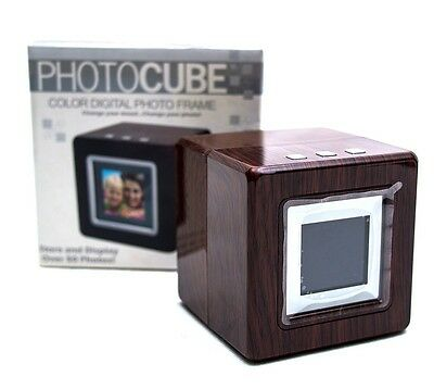 PHOTOCUBE New In Box! Color Digital Photo Frame Cherry Wood Finish USB Senario