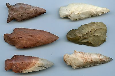 6 Genuine Native American Indian Arrow Head/Points
