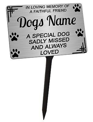 Personalised Dog Memorial Plaque Brushed Silver. Dog. For garden, grave etc