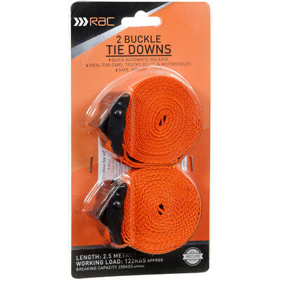 New Non slip Light Extremely Safe RAC Buckle Tie Downs Safe and secure  2.5m 2pk