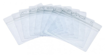 Ujoy Pack of 50 Clear Plastic Horizontal Badge Holders, Name Tag Holders, Card H