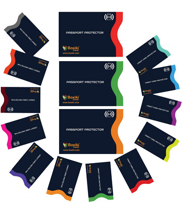 RFID Blocking Sleeves, Set of 15 With Color Coding   Identity Theft Prevention R