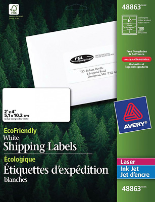 Avery EcoFriendly White Shipping Labels, 2-Inch x 4-Inch, Pack of 100 (48863)