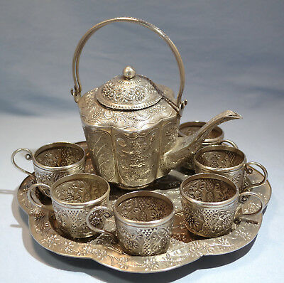 Chinese 900 Silver Repousse Tea Set Pot Cups Tray Dragon Bamboo Motif Circa 1920