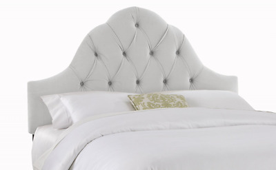 Skyline Furniture Velvet Full/Queen Tufted High Arc Headboard, Light Gray