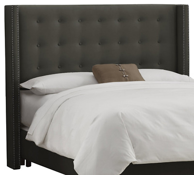 Skyline Furniture Nail Button Tufted Wingback King Headboard in Velvet Pewter