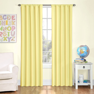 "Eclipse Kids Microfiber Blackout Window Curtain Panel, 63"", Yellow"