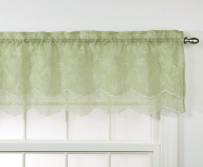 Stylemaster Renaissance Home Fashion Reese Embroidered Sheer Layered Scalloped V