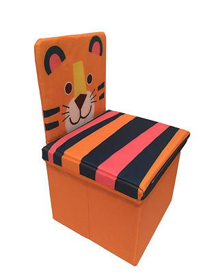 Kids Chair, Toys Storage Organizer Foldable Box With Lid, Stool Tiger Design By