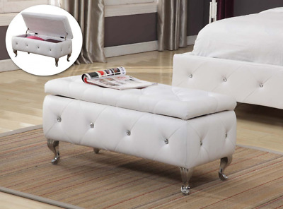 Kings Brand Furniture Tufted Design Upholstered Storage Bench Ottoman, White