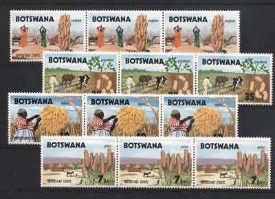 (942052) 3x Stamp on Stamp, Agriculture, Donkey, Small lot, Botswana