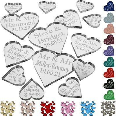 Personalised Love Hearts Wedding Mr & Mrs Table Confetti Decorations Favours