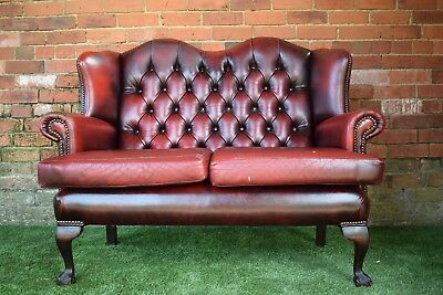 Leather Oxblood Red Chesterfield Queen Ann 2 Seater High Back Sofa