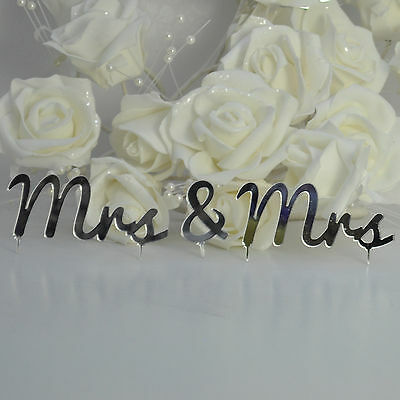 Mrs and Mrs Same Sex Civil Partnership Cake Topper - 3 piece set -mirror Acrylic