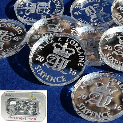 Personalised Lucky Sixpence Wedding Favours Silver Bridal Table Decorations x 50