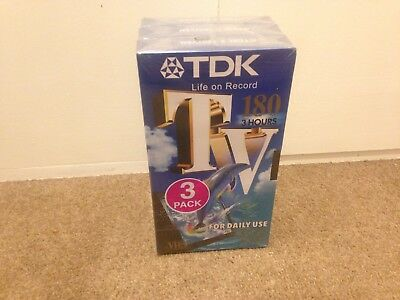 TDK TV 180 Minutes Blank VHS Video Tapes New & Sealed 3 Pack PAL 3 Hours Record