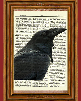 Raven Edgar Allan Poe Dictionary Art Print Picture Black Bird Gothic Eerie Gift
