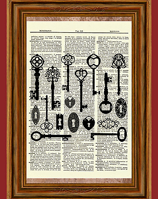 Skeleton Keys Dictionary Art Print Picture Gothic Eerie Gift Collection Key