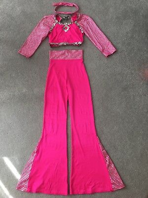Large Child Dance Costume Hot Pink Disco Halloween or Dance Costume Child Large