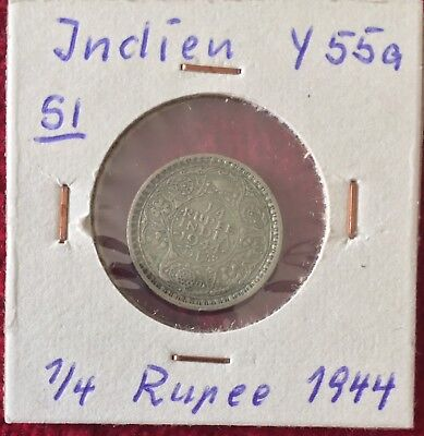 Indien India 1/4 Rupee 1944 Silber