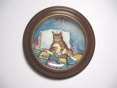 Gary Patterson Comical Cats CAT NAP Plate w/Wood Frame - Danbury Mint 1992
