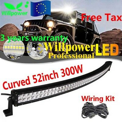 De 52Inch 300W Led Work Light Bar Curved Driving Lamp Offroad 4Wd Truck Suv Car