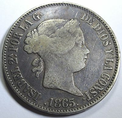 Spanish Philippines VF-XF 1865 50 Centimos Peso Reale Antique Rare Spain Coin