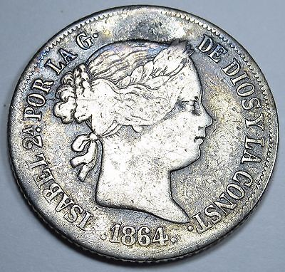 Spanish Philippines VF-XF 1864 20 Centimos Peso Reale Antique Rare Spain Coin