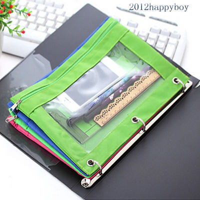 1Pc Zippered 3 Ring Pencil Case Binder Pencil Pouch with Rivet Enforced Hole