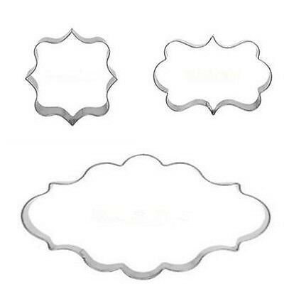 3pcs Cookies Frame Pastry Fondant Cake Sugarcraft Decor Mousse Mold Cutter tool