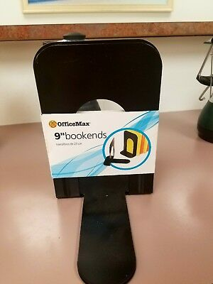 OfficeMax 9-Inch Standard Steel Bookends, Black