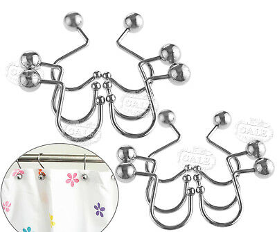 12 Pieces Silver Shower Curtain Hooks S Rings Hooks Polished Chrome Metal AU