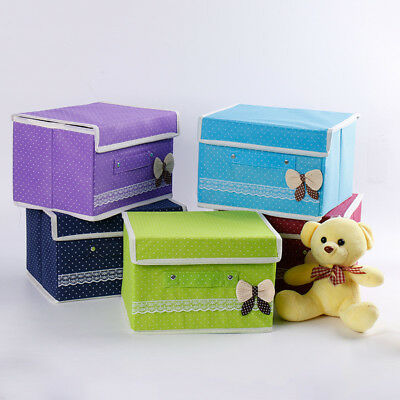 Non Woven Foldable Storage Baskets Lid Shelving Box for Clothing Toys Dustproof
