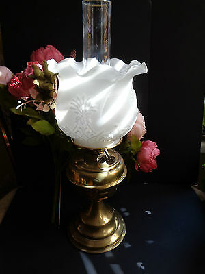 Vintage /antique Working Oil Lamp British Made Sunshine Mark F Milk White Shade