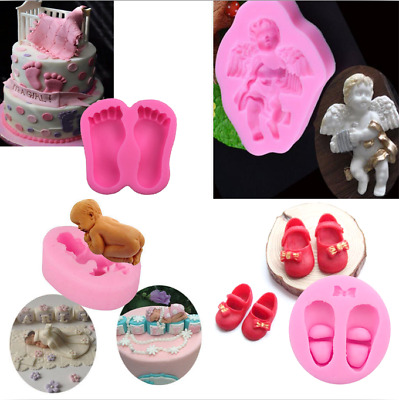 3D Shoes Foot Angle Baby Silicone Fondant Cake Mold Decorative Cutter Mould Tool