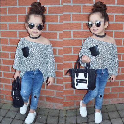 Newborn Toddler Infant Baby Girl Clothes T-shirt Top+Denim Pants Outfits Set New