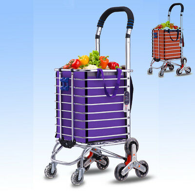 Practical Stair Climbing Cart 8 Wheels Rolling Folding Shopping Handcart Bag SFW