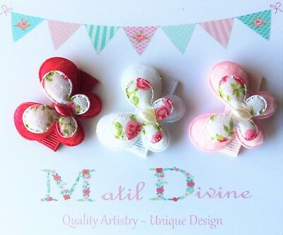 Baby Girls Non Slip Hair Clips ~ 3cm Snap Clips ~ Butterfly ~ Set of 3 ~ Red