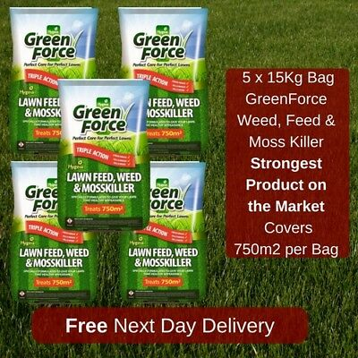 750 M2 Greenforce Lawn Feed Weed And Moss Killer Best Value On Ebay 5 Bags