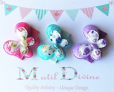 Baby Girls Non Slip Hair Clips ~ 3cm Snap Clips ~ Butterfly ~ Set of 3 ~ Purple