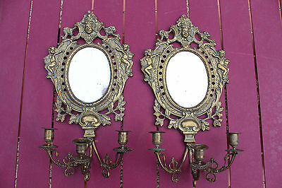 French Antique Sconces 19Th Gilt Bronze Miror (Wall Light)
