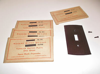 4 Vintage BROWN BAKELITE SWITCH PLATE COVERS New Old Stock in Original Packages