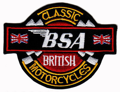 BSA MOTORCYCLE EMBROIDERED IRON ON PATCH cafe racer ace ton up 59 british biker