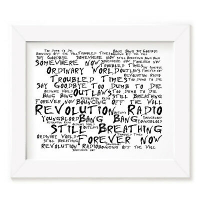 `Noir Paranoiac` GREEN DAY Art Print Typography Album Song Lyrics Signed Poster