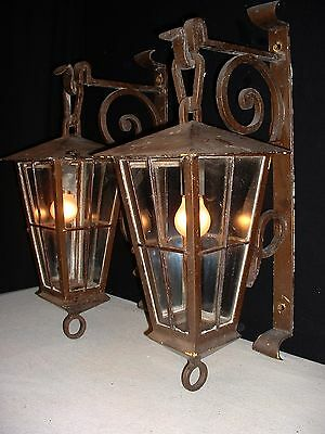 "Antique French extra large Gothic wrought iron lanterns sconces 27"" Tall"