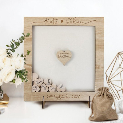 Personalised Drop Box Oak Frame Wooden Wedding Guest Book Chest Pen