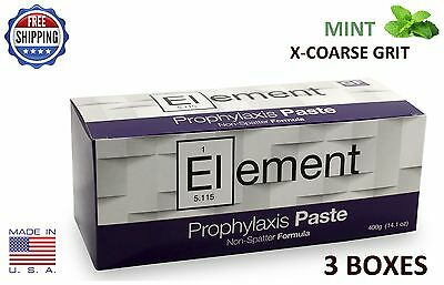 Element Prophy Paste Cups Mint X-Coarse 200/box Dental W/flouride - 3 Boxes