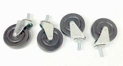 "24 Pack Medium Duty Swivel Casters with 3"" Rubber Wheels 3/8"" Threaded stem"